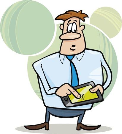 cartoon illustration of businessman with tablet