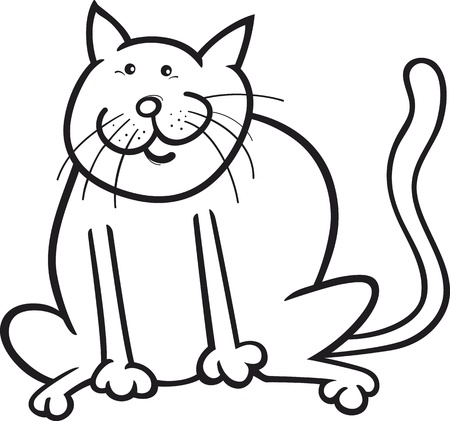 cartoon coloring page illustration of funny sitting cat Vector