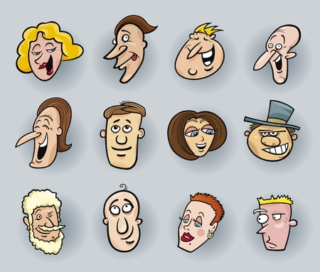 cartoon illustration of funny people faces set Vector