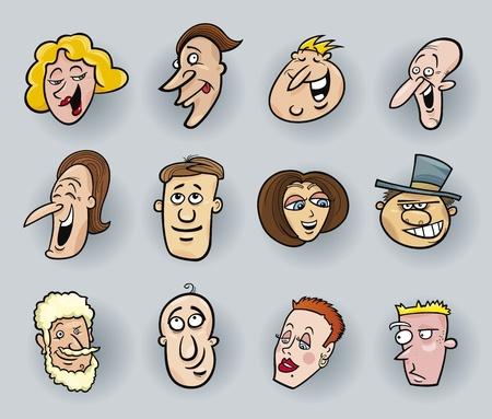 personalidad: ilustración de dibujos animados de gente divertida se enfrenta a configurar