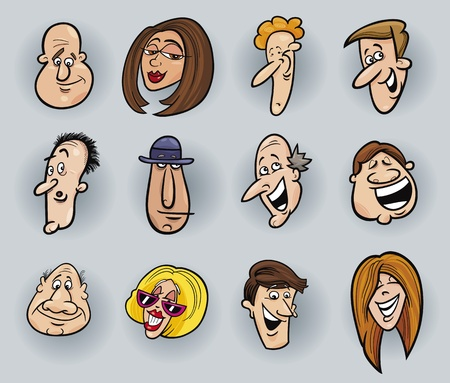 cartoon illustration of funny people faces set Stock Vector - 11933982
