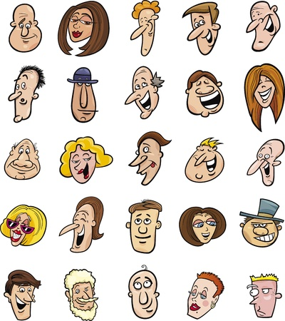 caricatura: ilustración de dibujos animados de un enorme conjunto de gente divertida caras
