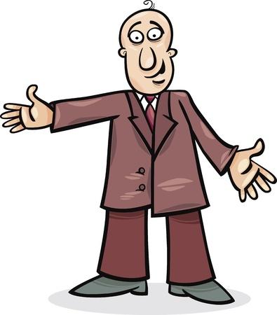 bald men: cartoon illustration of funny man in suit Illustration