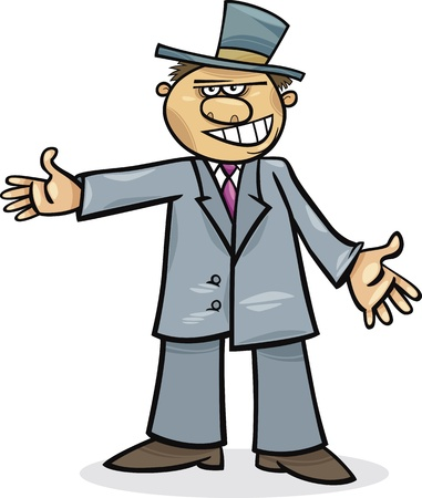 man with hat: cartoon illustration of funny man in suit Illustration