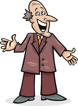 cartoon illustration of funny man in suit Vector