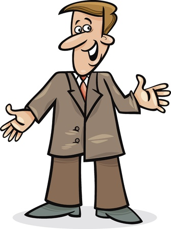 welcome smile: cartoon illustration of funny man in suit Illustration
