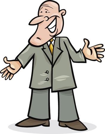 sneer: cartoon illustration of funny man in suit Illustration