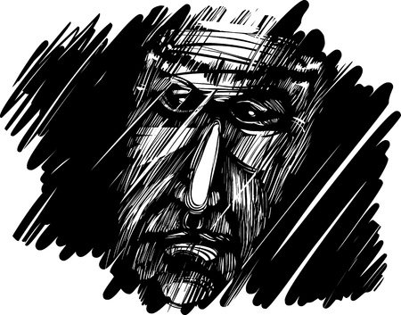 dreary: sketch drawing illustration of old man Illustration