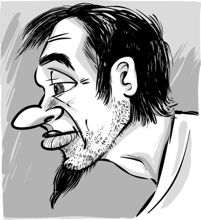 black man thinking: sketch caricature illustration of young man with beard Illustration