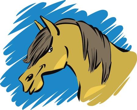 foretop: cartoon illustration of funny farm horse Illustration