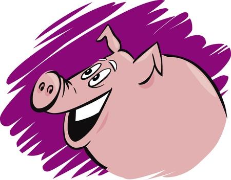 cartoon illustration of funny farm pig Stock Vector - 12496322