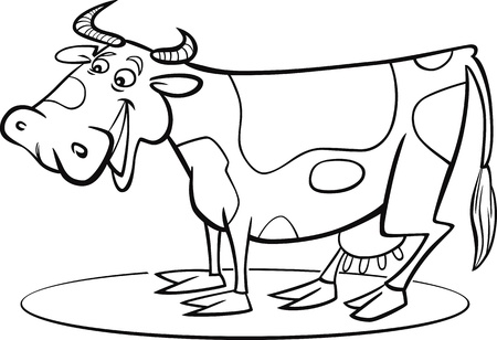 milker: coloring page illustration of funny farm cow Illustration
