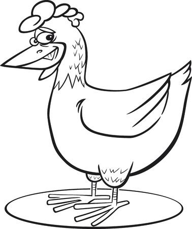 cockscomb: coloring page illustration of funny farm hen Illustration
