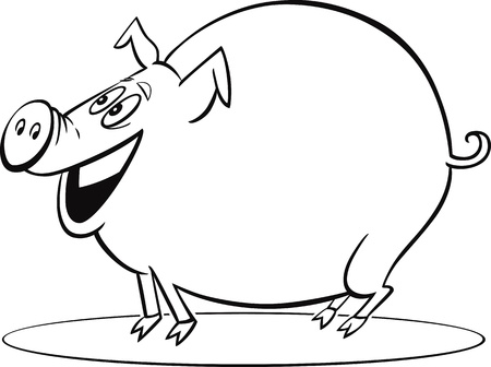 pig tails: coloring page illustration of funny farm pig
