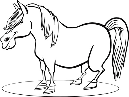 steed: coloring page illustration of farm pony horse Illustration