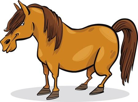 cartoon illustration of funny farm pony horse