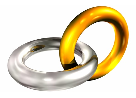 3d illustration of gold and silver rings in chain illustration