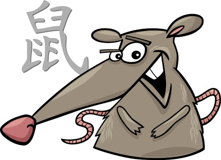 chinese astrology: cartoon illustration of Rat Chinese horoscope sign