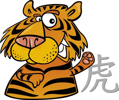 chinese astrology: cartoon illustration of Tiger Chinese horoscope sign