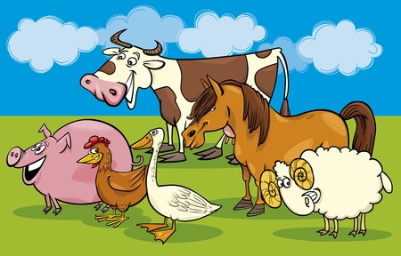 ponies: Cartoon illustration of funny farm animals group Illustration