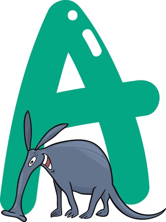 cartoon illustration of A letter for aardvark Vector