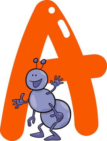 spelling book: cartoon illustration of A letter for ant