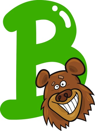 cartoon illustration of B letter for bear Vector