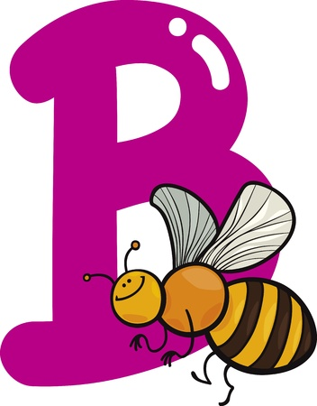 spelling book: cartoon illustration of B letter for bee Illustration