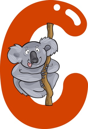cartoon illustration of C letter for coala Stock Vector - 13070786