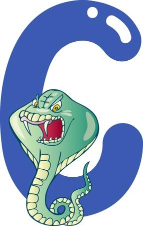 cartoon illustration of C letter for cobra