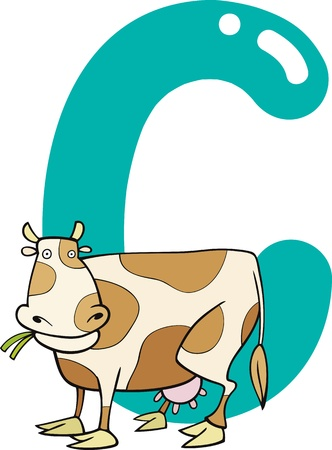 spelling book: cartoon illustration of C letter for cow Illustration