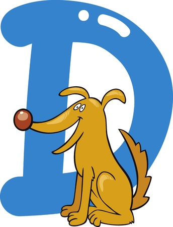 cartoon illustration of D letter for dog Vector