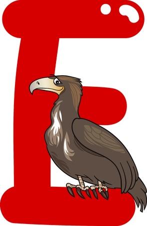 cartoon illustration of E letter for eagle Vector