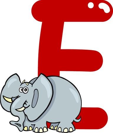 spelling book: cartoon illustration of E letter for elephant