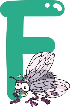 cartoon illustration of F letter for fly Vector
