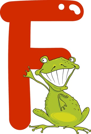 spelling book: cartoon illustration of F letter for frog Illustration