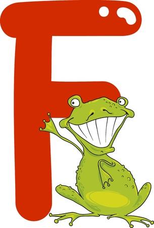 kids abc: ilustraci�n de dibujos animados de la letra F de la rana Vectores