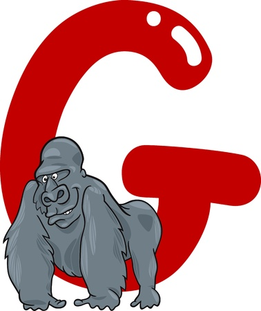 abc book: cartoon illustration of G letter for gorilla