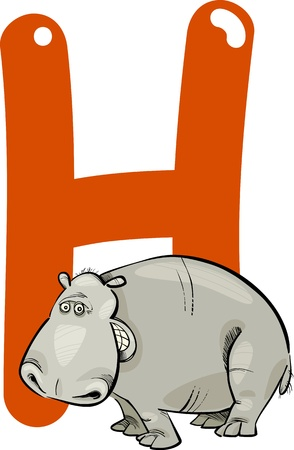 cartoon illustration of H letter for hippo Vector