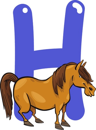 cartoon illustration of H letter for horse Vector