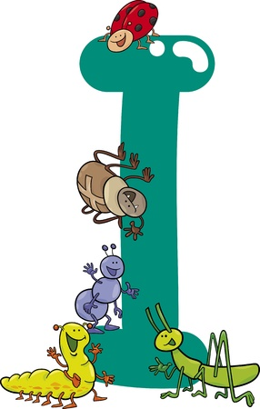cartoon illustration of I letter for insects Vector