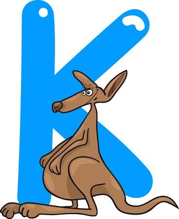 cartoon illustration of K letter for kangaroo Vector