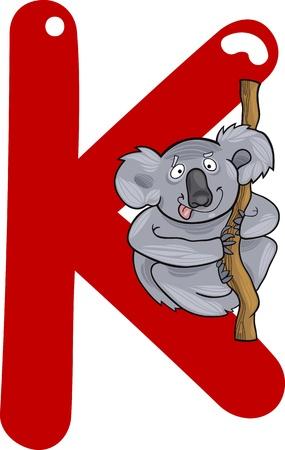 spelling book: cartoon illustration of K letter for koala