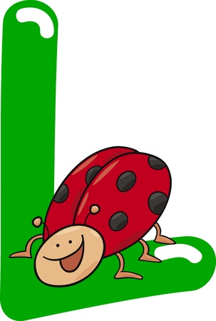 abc book: cartoon illustration of L letter for ladybug