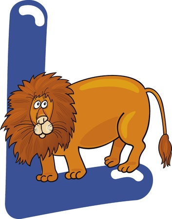 cartoon illustration of L letter for lion Vector