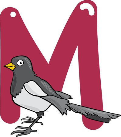 cartoon illustration of M letter for magpie Vector