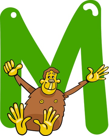 cartoon illustration of M letter for monkey Illustration