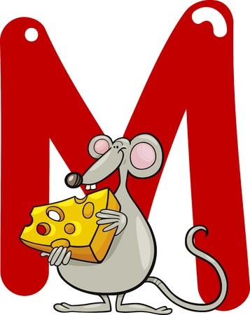 m: cartoon illustration of M letter for mouse Illustration