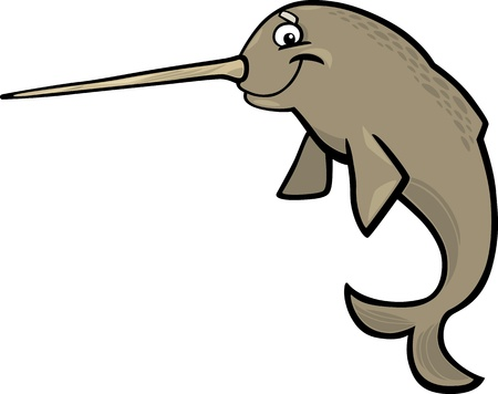 cartoon illustration of narwhal isolated on white Vector