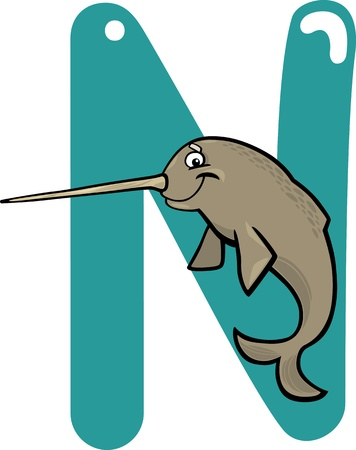 cartoon illustration of N letter for narwhal Vector